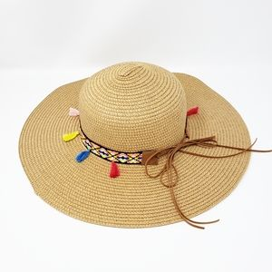 Beach hat with boho strap and tassels